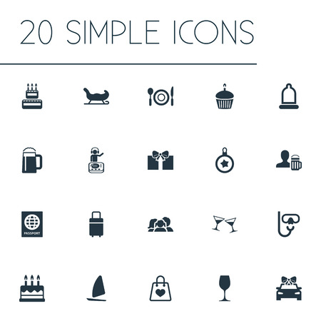 Vector Illustration Set Of Simple Vacation Icons. Elements Luggage, Pub, Birthday Dessert And Other Synonyms Coupe, Lunch And Suitcase.