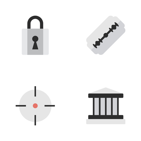 Vector Illustration Set Of Simple Criminal Icons. Elements Grille, Target, Blade And Other Synonyms Shaver, Padlock And Target.