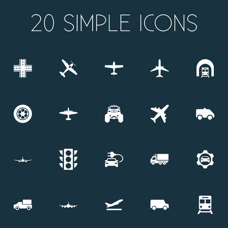 Vector Illustration Set Of Simple Transport Icons. Elements Metro, Motor Lorry, Suv And Other Synonyms Highway, Metro And Crossroad.