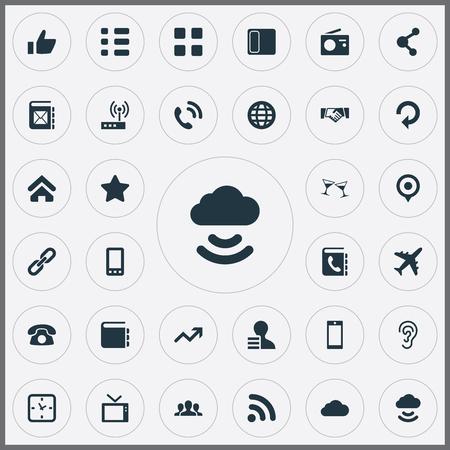 単純な透過アイコンのベクター イラスト セット。携帯電話および賞、要素携帯電話、スマート フォン、世界類義語を更新します。  イラスト・ベクター素材