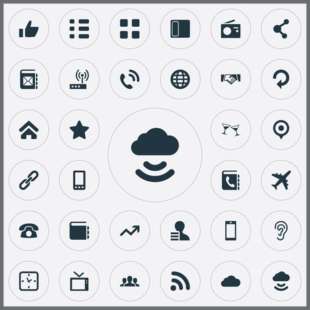 Vector Illustration Set Of Simple Transmission Icons. Elements Handset, Smartphone, World Synonyms Refresh, Handset And Award. Illustration