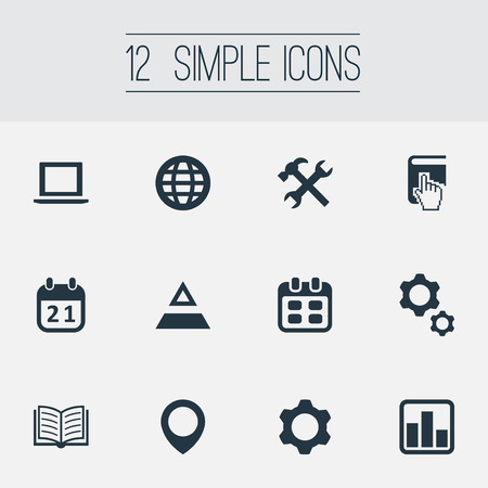 Vector Illustration Set Of Simple Startup Icons. Elements Agenda, Magazine, Date And Other Synonyms Earth, Gear And Repair. 向量圖像