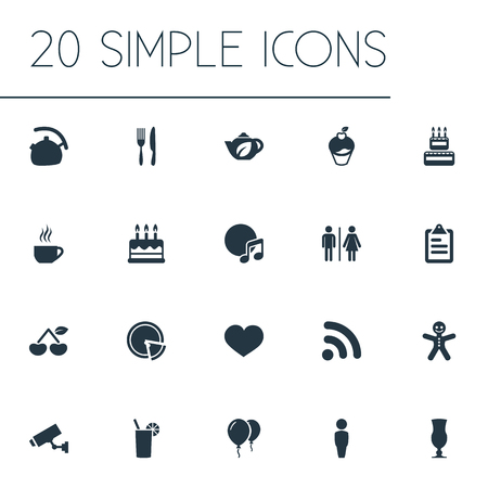 Vector Illustration Set Of Simple Restaurant Icons. Elements Cup, Soul, Man And Other Synonyms Cup, Melody And Restaurant.
