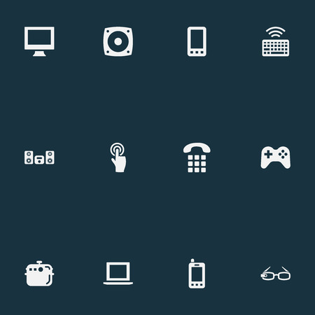 Vector Illustration Set Of Simple Smart Icons. Elements Smartphone, Multimedia Center, Monitor And Other Synonyms Joystick, Controller And Device. Banco de Imagens - 87382586