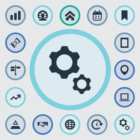 Vector Illustration Set Of Simple Startup Icons. Elements Computer, Gadget, Sandglass Synonyms International, Computer And Earth. Banco de Imagens - 87382588