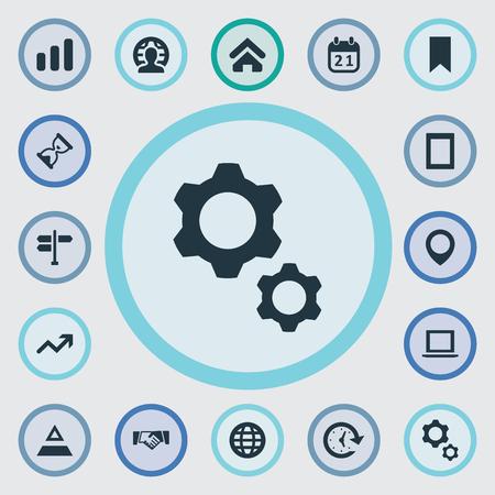 Vectorillustratiereeks Eenvoudige Startpictogrammen. Elementen Computer, Gadget, Sandglass Synoniemen Internationaal, Computer en aarde.