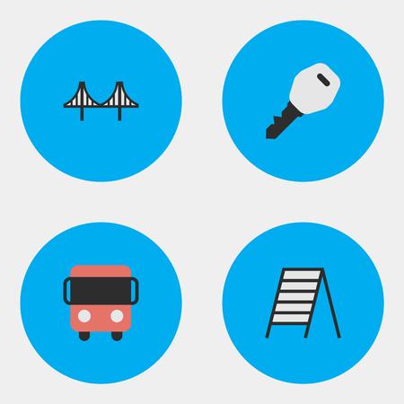Ilustración vectorial Conjunto de iconos de transporte simple. Elementos abiertos, escaleras, autobus y otros sinónimos escalera, clave y puente. Foto de archivo - 87382589