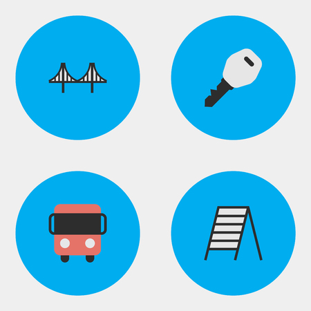 Vector Illustration Set Of Simple Transportation Icons. Elements Open, Stairs, Autobus And Other Synonyms Ladder, Key And Jumper. Stock Vector - 87382589