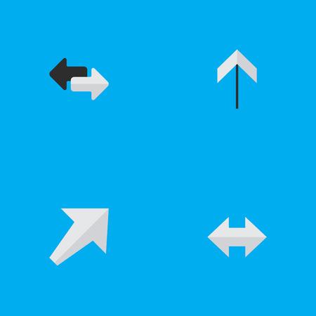Everyway、南西および矢印とエクスポート、他の同義語を要素。 単純なインジケーター アイコンのベクター イラスト セット。