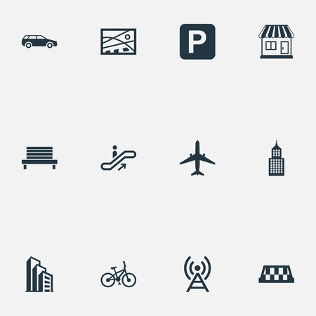 Vector Illustration Set Of Simple Architecture Icons. Elements Park Seat, Megapolis, Signal Transmitter And Other Synonyms Park, Direction And Kiosk. Stock Photo