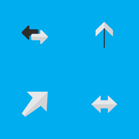 Vector Illustration Set Of Simple Indicator Icons. Elements Up, Everyway, Southwestward And Other Synonyms Up, Arrow And Export.
