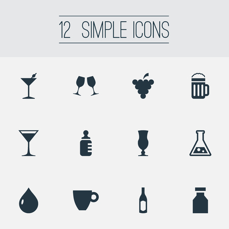 Vector Illustration Set Of Simple Beverage Icons. Elements Cosmopolitan, Beer, Bottle And Other Synonyms Cognac, Beer And Liquor. Stock Photo