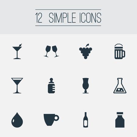Vector illustratie Set van eenvoudige drank pictogrammen. Elements Cosmopolitan, Beer, Bottle And Other Synoniemen Cognac, bier en drank. Stockfoto
