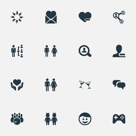 Vector Illustration Set Of Simple Buddies Icons. Elements Unity, Gossip, Magnifier And Other Synonyms Friend, Bowling And Conversation.