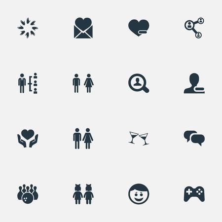 Vectorillustratiereeks Eenvoudige Vriendenpictogrammen. Elements Unity, Gossip, Magnifier And Other Synoniemen Friend, Bowling and Conversation.