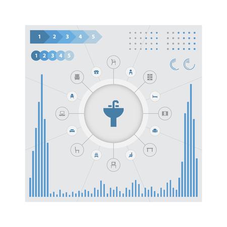 Vectorillustratiereeks Eenvoudige Meubilairpictogrammen. Elementen Vintage accessoire, tafel, bel-up en ander synoniemen-oproep, nachtkastje en televisie.