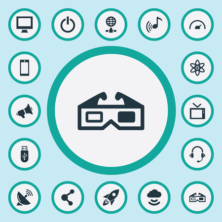 Vector Illustration Set Of Simple Device Icons. Elements Loudspeaker, Cloud Signal, Melody And Other Synonyms Memory, Startup And Network.