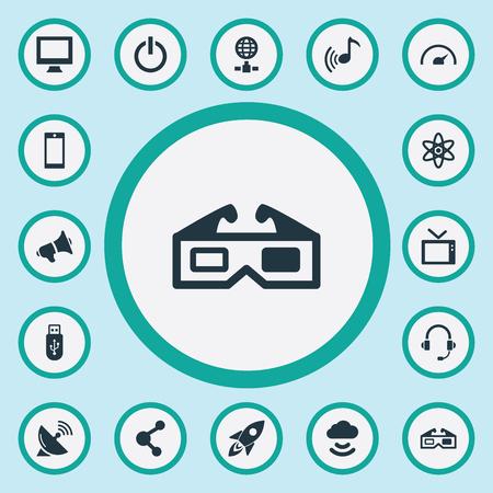 Vector illustratie Set van eenvoudige apparaatpictogrammen. Elementen Luidspreker, cloudsignaal, melodie en ander synoniemengeheugen, opstarten en netwerk. Stockfoto