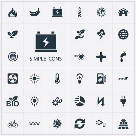 Vector Illustration Set Of Simple Energy Icons. Elements Rush, Innovation, Care And Other Synonyms Ecology, Add And Sunglow.
