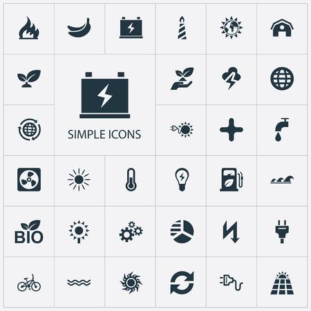 Vector illustratie Set van eenvoudige energie pictogrammen. Elements Rush, Innovation, Care And Other Synoniemen Ecology, Add And Sunglow.