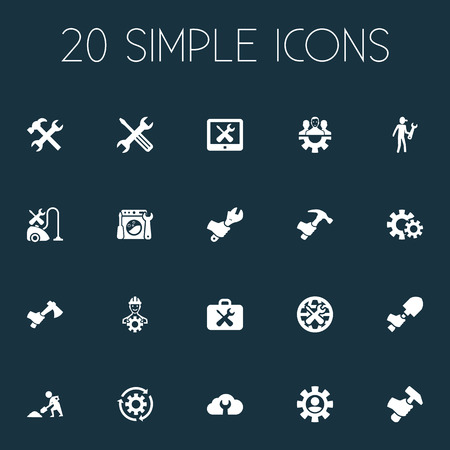 Vector Illustration Set Of Simple Mending Icons. Elements Hammer, Spanner, Worker And Other Synonyms Spade, Rotate And Cogwheel. Stock Photo