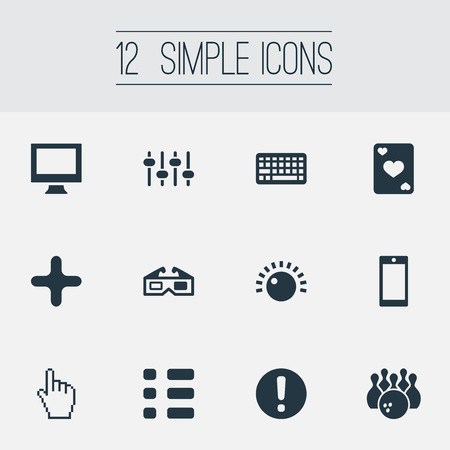 audio mixer: Vector Illustration Set Of Simple Leisure Icons. Elements Monitor, Mixer, Kegling And Other Synonyms Screen, Menu And Cursor. Illustration