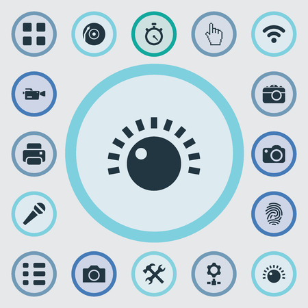 Vector Illustration Set Of Simple Technology Icons. Elements Pointer, Settings, Wireless Connection And Other Synonyms Camera, Microphone And Movie.