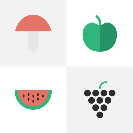 Vector Illustration Set Of Simple Horticulture Icons. Elements Fruit, Wine, Melon And Other Synonyms Wine, Boletus And Tree.
