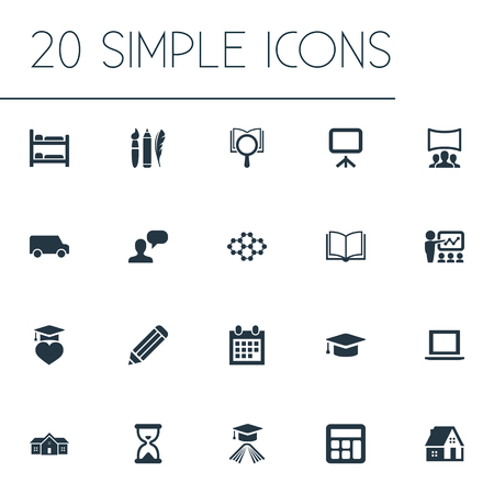 Vector Illustration Set Of Simple Knowledge Icons. Elements Pen, Interactive Lesson, Graduation Celebration And Other Synonyms House, Learning And Truck. Banco de Imagens - 87382601