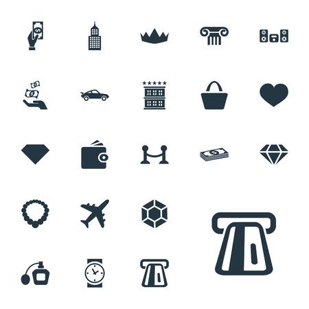 Vector illustratie Set van eenvoudige geld pictogrammen. Elements Soul, Perfume, Loudspeaker And Other Synoniemen Love, Pillar And Soul. Stock Illustratie