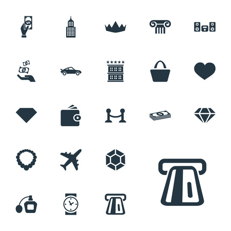 Vector Illustration Set Of Simple Money Icons. Elements Soul, Perfume, Loudspeaker And Other Synonyms Love, Pillar And Soul.