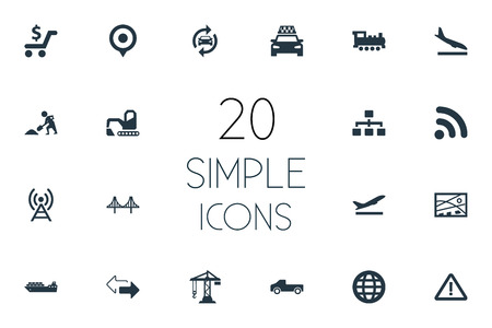 Vector Illustration Set Of Simple Infrastructure Icons. Elements Cargo Shipping, Construction Crane, Reverse Directions And Other Synonyms Reconstruction, Hoisting And Rail.