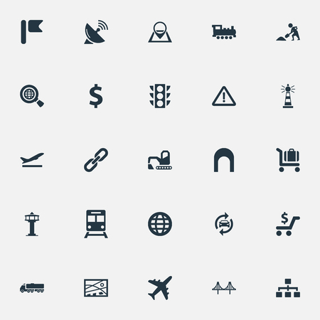 Vector Illustration Set Of Simple Public Icons. Elements Relation, Shopping, Stoplight And Other Synonyms Repair, Auto And Flight.