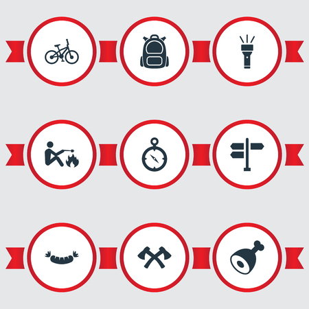 Vector Illustration Set Of Simple Camp Icons. Elements Chronometr, Bicycle, Barbecue And Other Synonyms Crossed, Street And Trip. Illustration