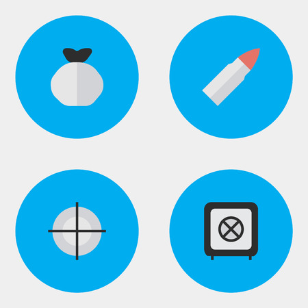Vector Illustration Set Of Simple Offense Icons. Elements Vault, Shot, Sniper And Other Synonyms Vault, Shot And Target. Illusztráció