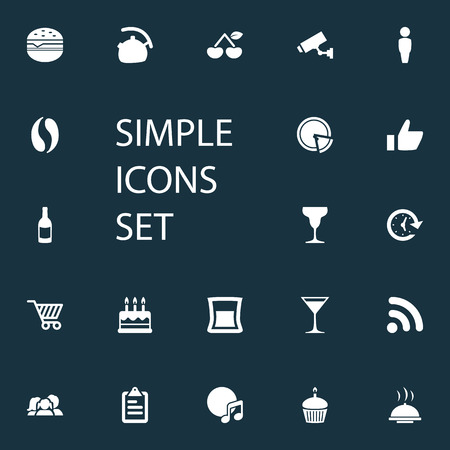 Vector Illustration Set Of Simple Restaurant Icons. Elements Favorite, Pepperoni, Paperboard And Other Synonyms Dessert, Favorite And Berry.