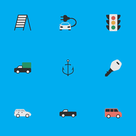 Vector Illustration Set Of Simple Transportation Icons. Elements Family, Stairs, Suv And Other Synonyms Open, Garage And Stairs. Illustration