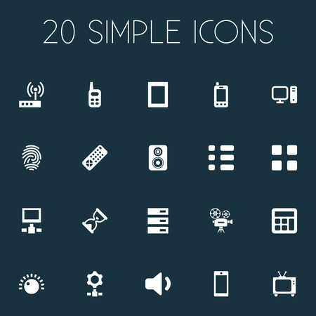 Vector Illustration Set Of Simple Device Icons. Elements Sandglass, Touch Computer, Volume Synonyms Camcorder, Computer And Switch.