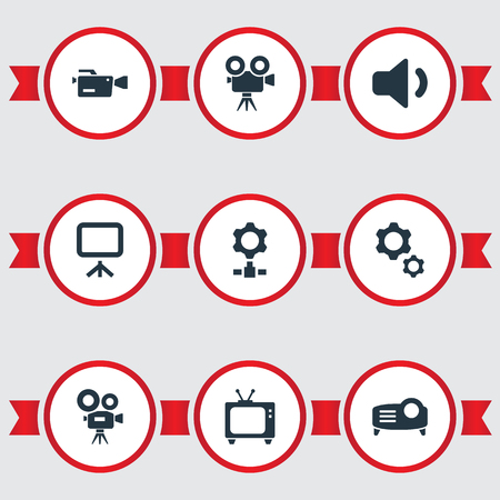 Vector Illustration Set Of Simple Technology Icons. Elements Cinema, Show, Recording And Other Synonyms Board, Motor And Broadcasting. Illustration