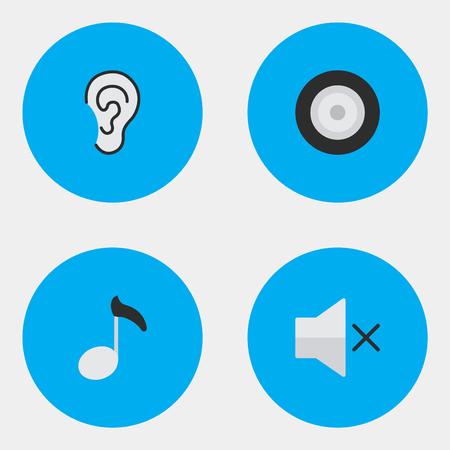 벡터 일러스트 레이 션 간단한 아이콘의 집합입니다. 요소 라우드 스피커, 음표, 볼륨 및 기타 동의어 음소거, 볼륨 및 음악.
