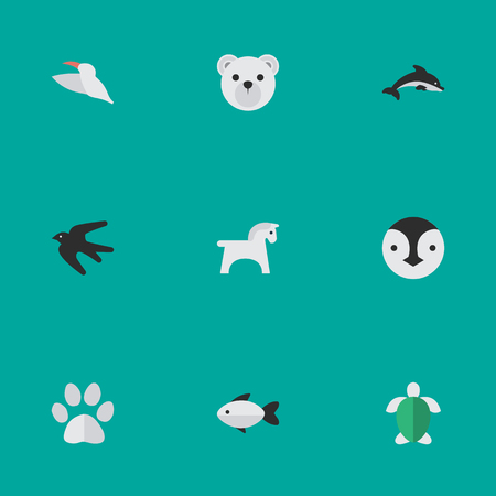 Vector Illustration Set Of Simple Animals Icons. Elements Sparrow , Panda , Perch Synonyms Penguin, Dolphin And Flightless. Stock Vector - 87382624