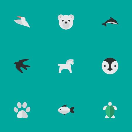 Vektor-Illustrations-Satz einfache Tier-Ikonen. Element-Spatz, Panda, Stange Synonyme Pinguin, Delphin und Flightless. Standard-Bild - 87382624