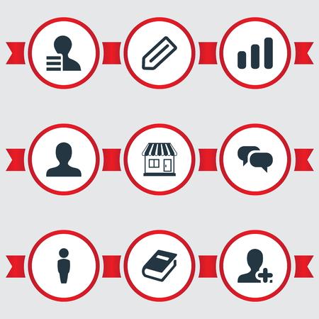 Vectorillustratiereeks Eenvoudige Groepswerkpictogrammen. Elementen Toevoegen, Conversatie, Communicatie en Andere synoniemen Groei, Boek en Info. Stockfoto