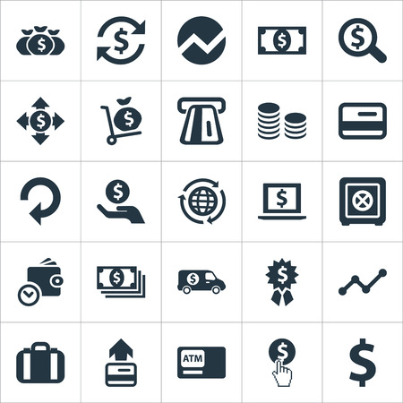 Vector Illustration Set Of Simple Currency Icons. Elements Money, Atm, Analytics And Other Synonyms Statistic, Purchase And Coins.