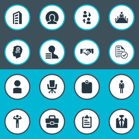 Vector illustratie Set van eenvoudige Hr iconen. Elements Account, Personal, Boardroom And Other Synoniemen Briefcase, Server And Bureau.