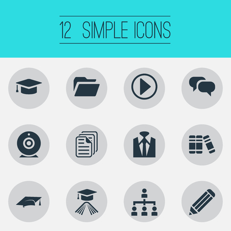 Vector Illustration Set Of Simple Conference Icons. Elements Elegant Style, Papers, Drawing And Other Synonyms Businessman, Play And Structure. Illustration