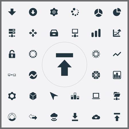 Vectorillustratiereeks Eenvoudige Bedrijfspictogrammen. Elementen vooruitgang, wereldbol, lade en andere synoniemen Internet, opwaartse en wereld.