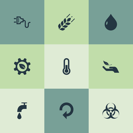 Vector Illustration Set Of Simple Green Icons. Elements Socket, Biology Peril, Biological Engineering And Other Synonyms Tap, Thermometer And Peril. Stock Photo