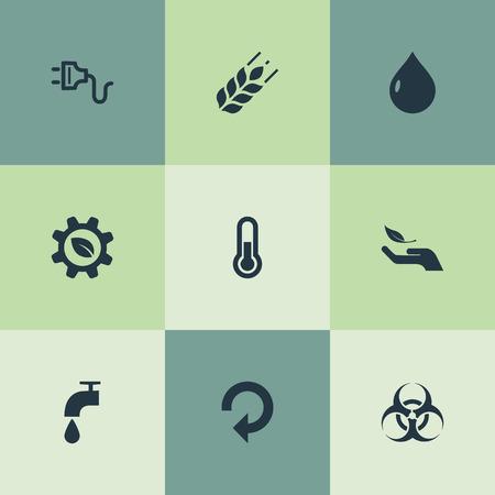 Vector illustratie Set van eenvoudige groene pictogrammen. Elements Socket, Biology Peril, Biological Engineering and Other Synoniemen Tap, Thermometer And Peril.