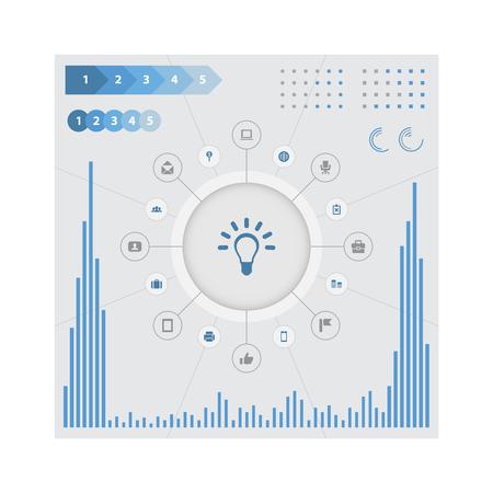 Vectorillustratiereeks Eenvoudige Bedrijfspictogrammen. Elementenlamp, mobiele telefoon, kaartpin en andere synoniemenlamp, envelop en kruis. Stockfoto